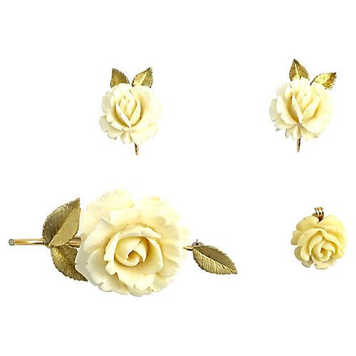 Krementz Rose Earrings, Brooch & Pendant