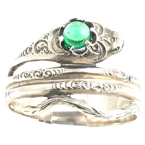 Sterling & Green Glass Snake Ring