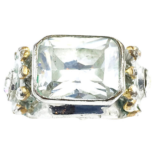 CZ & Sterling Cocktail Ring