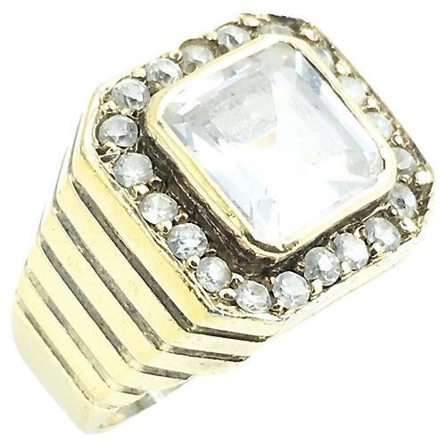 Gilt Sterling & Crystal Cocktail Ring