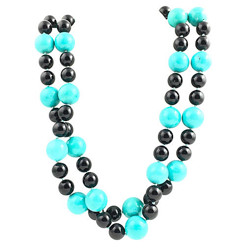 Onyx & Turquoise Bead Necklace
