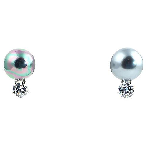 Sterling Faux-Pearl Earrings