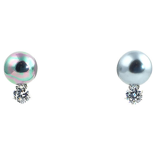 Sterling Faux-Pearl Earrings