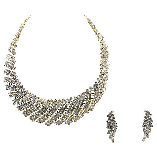 Rhinestone Cocktail Necklace & Earrings