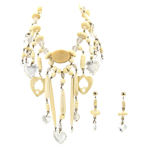 Bone & Lucite Hearts Necklace & Earrings
