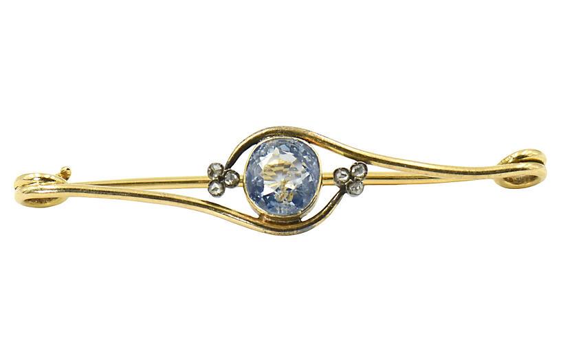 Antique Sapphire & Diamond Gold Brooch
