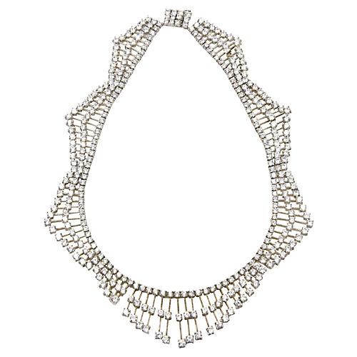 Crystal Silver Bib Statement Necklace
