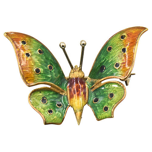 Enamel Butterfly 18k Gold Brooch Pin