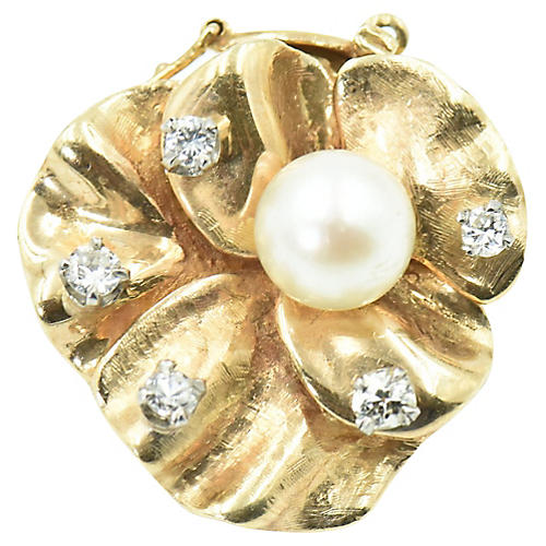 Pearl & Diamond Gold Flower Brooch Clasp