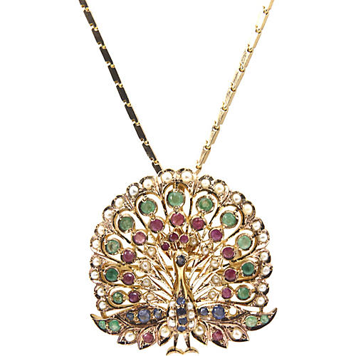 Gemstone Gold Peacock Brooch Necklace