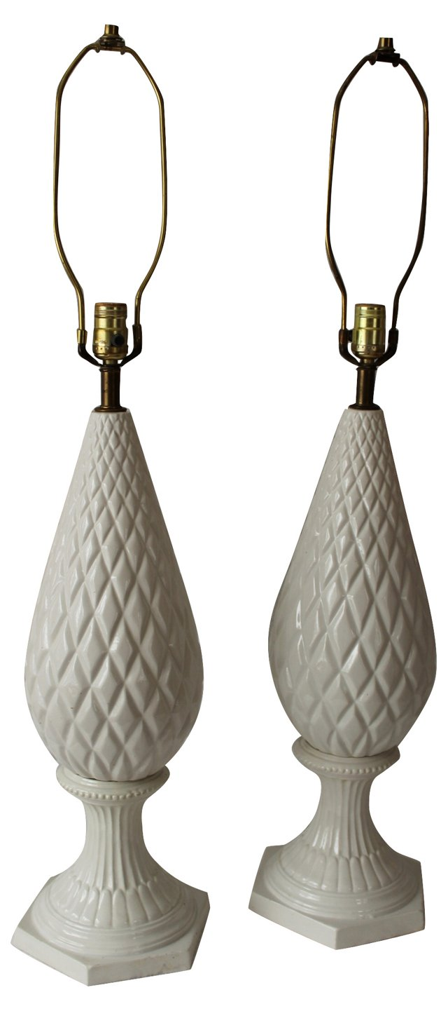 Italian White Porcelain Lamps, Pair