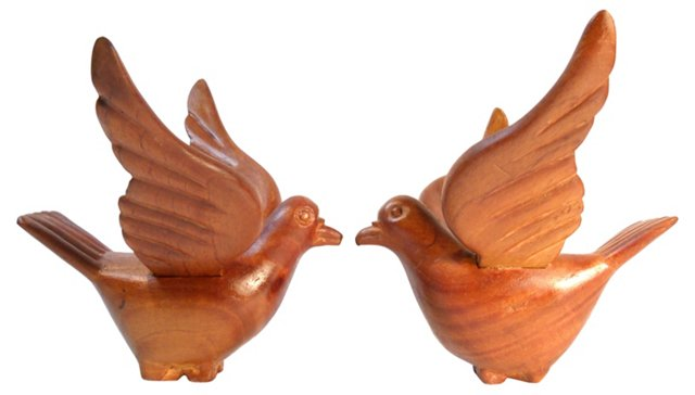Hand-Carved Wooden Birds, Pair
