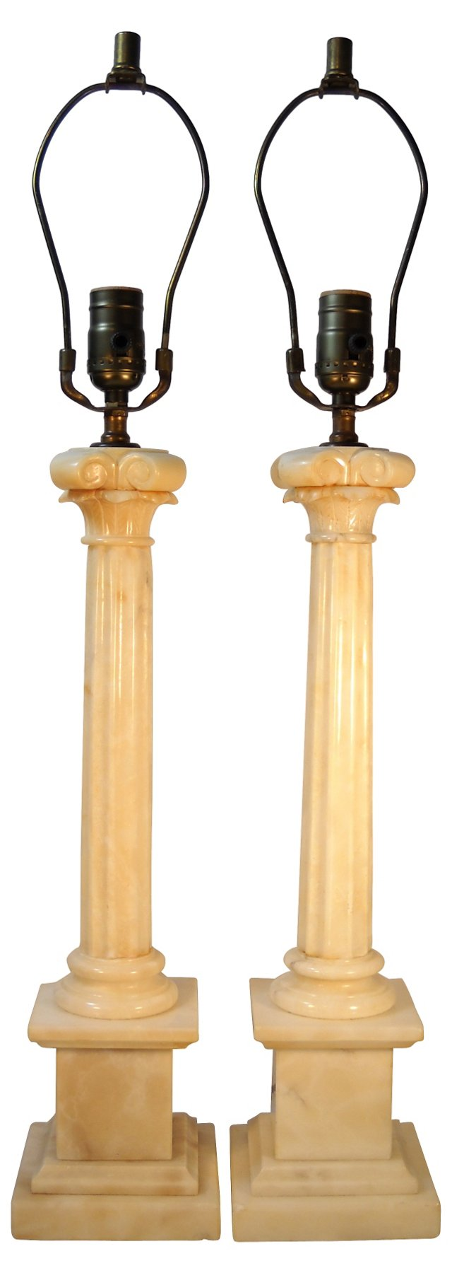 Alabaster Ionic Column Lamps, Pair