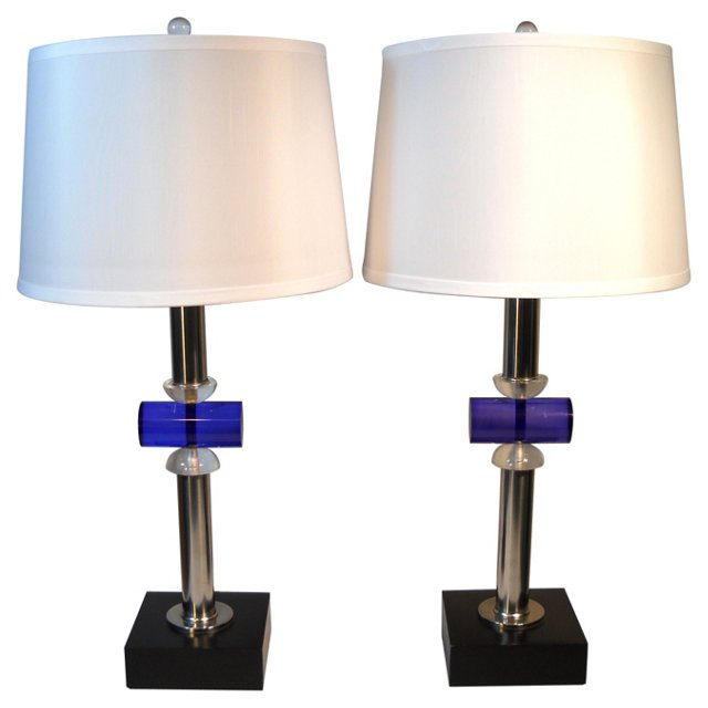 Blue & Clear Lucite Chrome Lamps, Pair