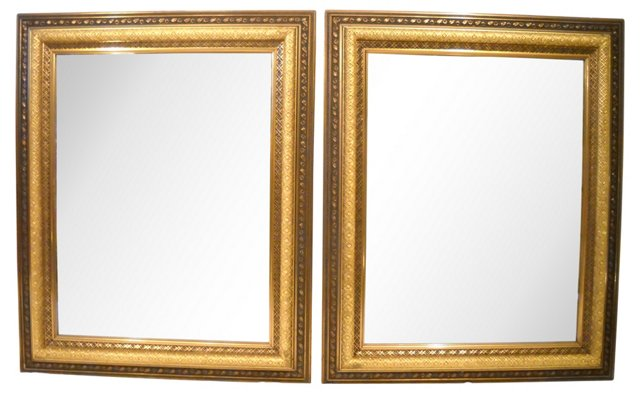 Gold & Bronze  Mirrors, Pair