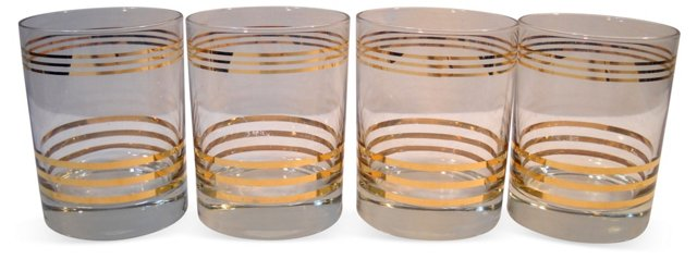 Gilt-Banded Whiskey Tumblers, S/4