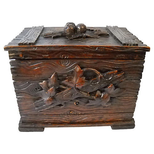 Antique Carved Wood Tea Caddy