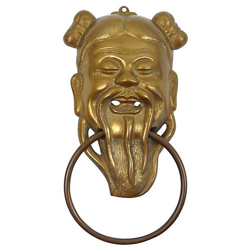 Asian Face Brass Towel Holder