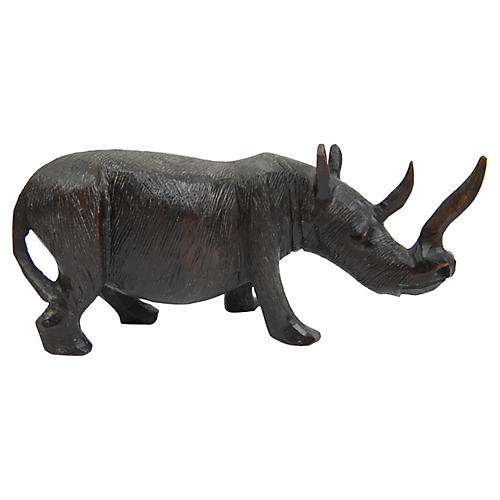 Carved Wood Rhinoceros