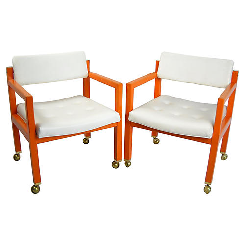 Orange Cube Chairs on Casters, Pair