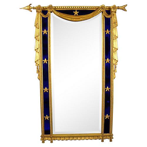 Directoire-Style Gilded Cobalt Mirror