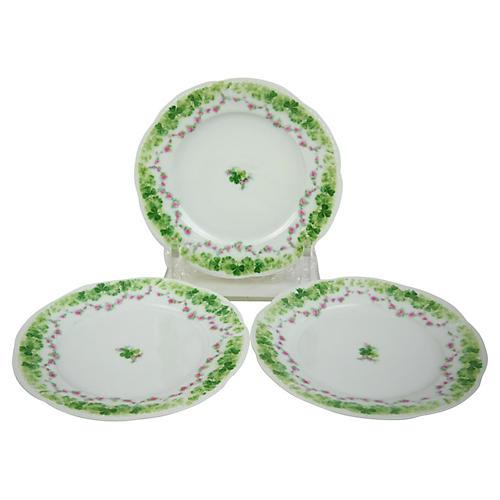 Shamrock Dessert Plates, S/3