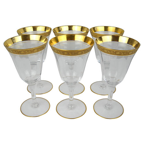 Floral Scroll Gilt-Rim Wineglasses, S/6
