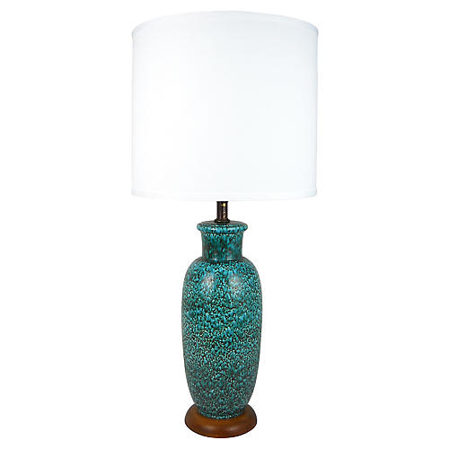 Mottled Blue Glaze Ceramic Lamp