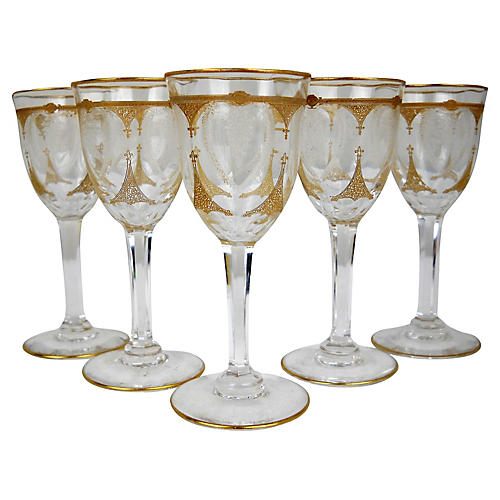 Floral Etched Gilt Cordials, S/5