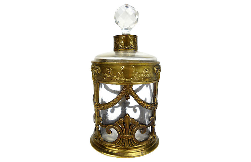Antique French Brass Case Scent Bottle