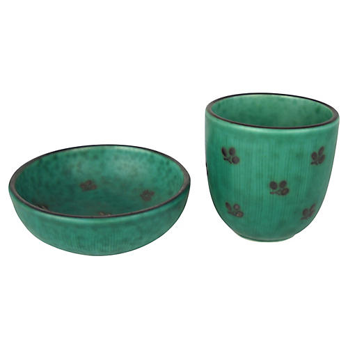 Gustavsberg Pottery Dish & Cup, S/2