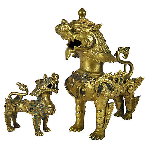 Thai Brass Temple Dogs, S/2
