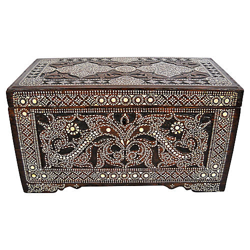19th-C. Shell Inlay Trunk
