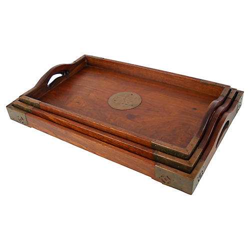 Stackable Wood & Brass Trays, S/3