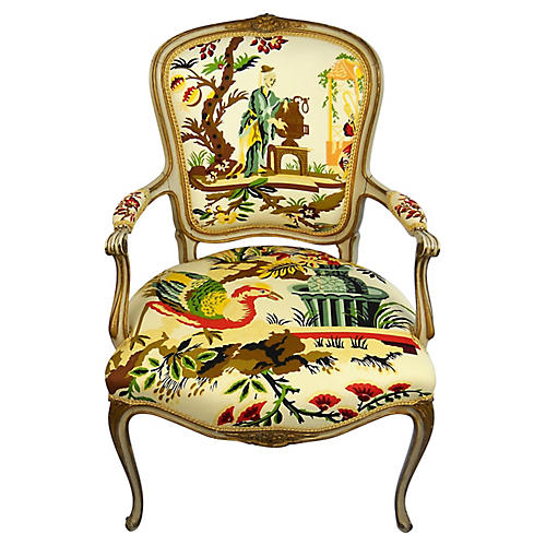 Chinoiserie Toile Fauteuil