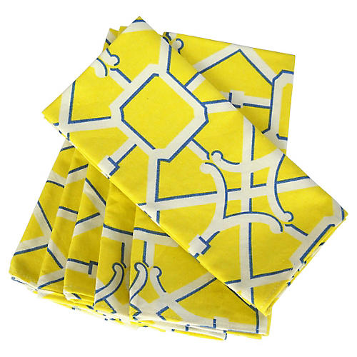 Yellow Lattice Dinner Napkins, S/6