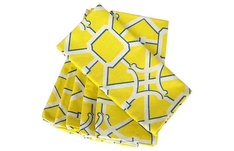 Yellow Lattice Dinner Napkins, S/6