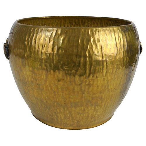 Asian Hammered Brass Jardiniere