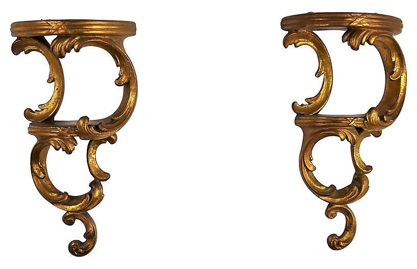 Rococo-Style Plaster Brackets, Pair
