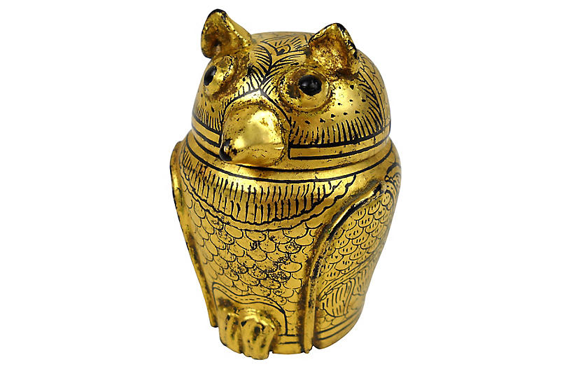 Burmese Lacquer & Gilt Horned Owl Box