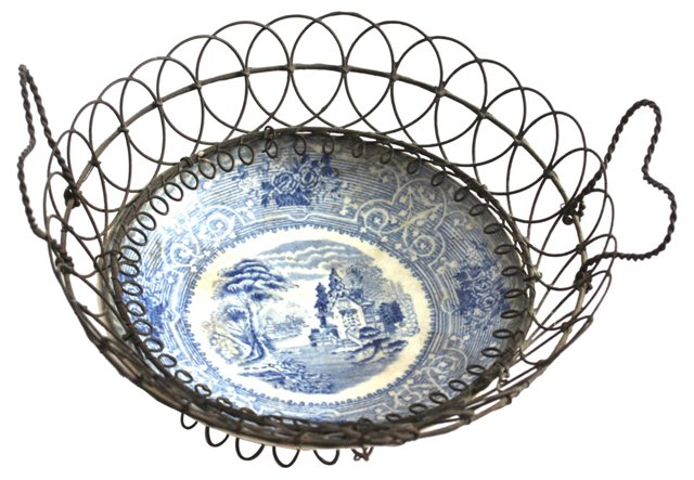 Ceramic & Wire Egg Basket