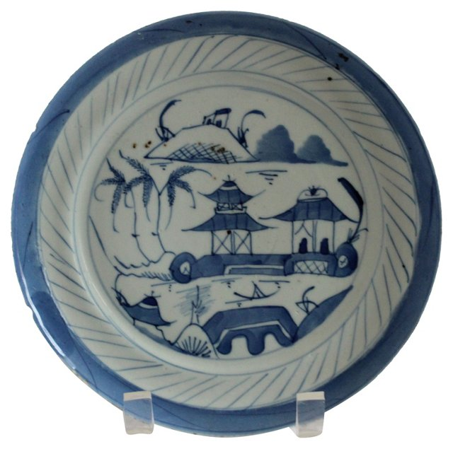 Blue Canton Chinese Export Plate