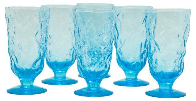 1960s Blue Textured Glasses, S/6