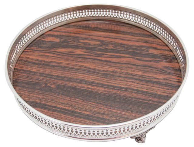 Midcentury Footed Silver-Accented Tray