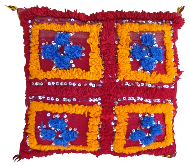 Moroccan Blue & Orange Berber Sham