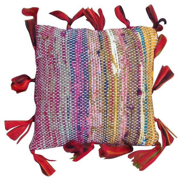 Boucherouite Sham w/ Red Tassels