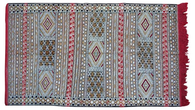 "Moroccan Kilim w/ Diamonds, 7'9"" x 4'8"""