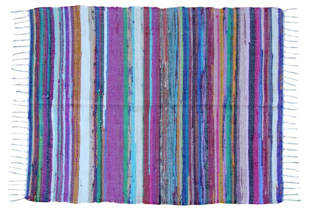 Multicolor Striped Boucherouite, 4' x 3'