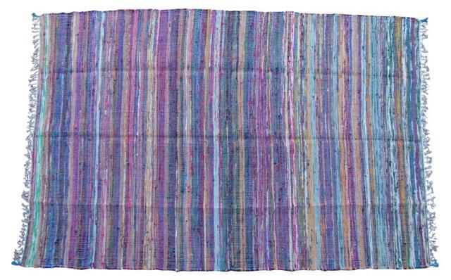 Striped Moroccan Boucherouite, 9' x 6'