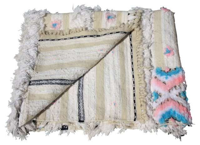 Blue & Pink Moroccan Berber Blanket